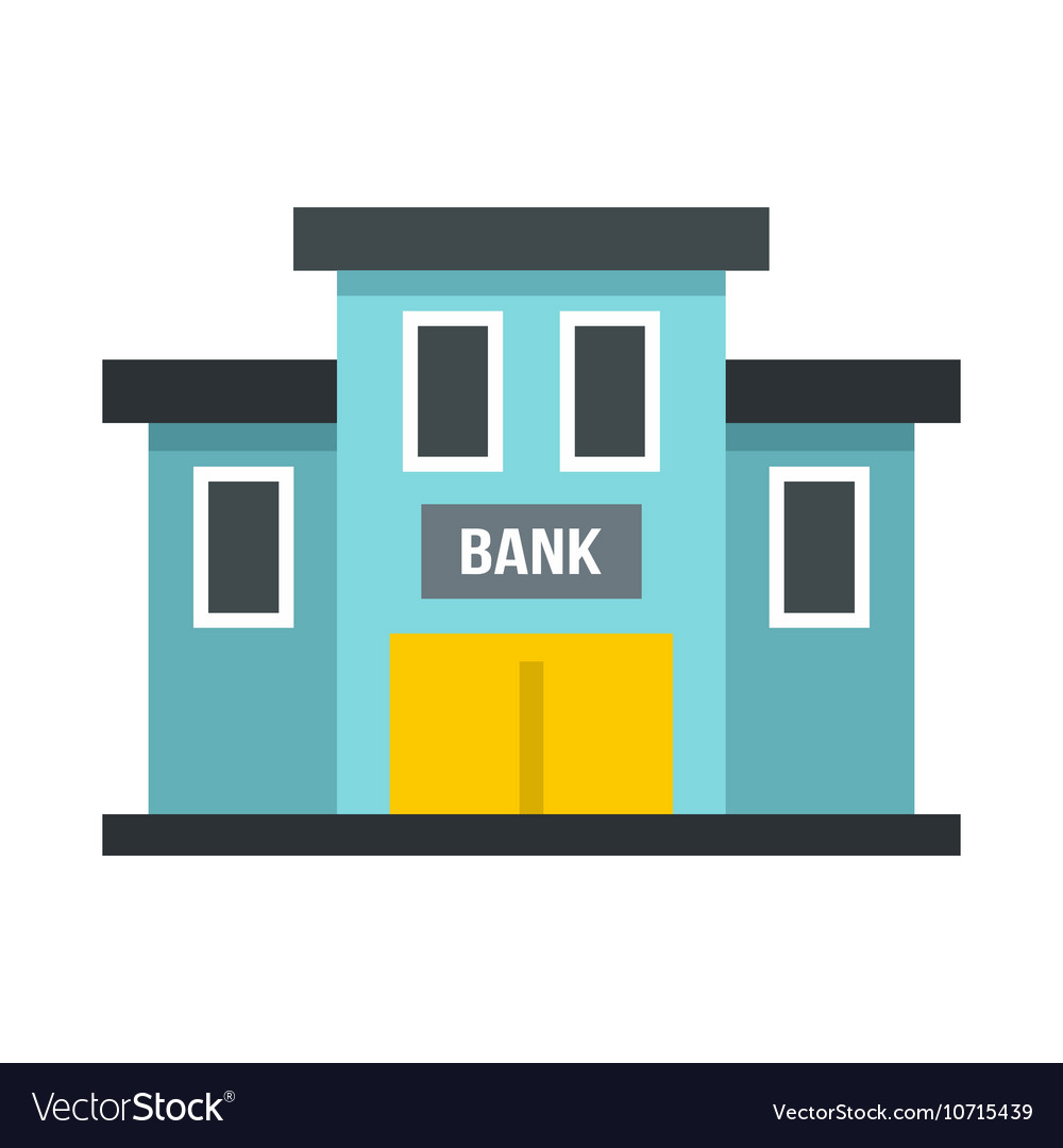 Bank building icon flat style
