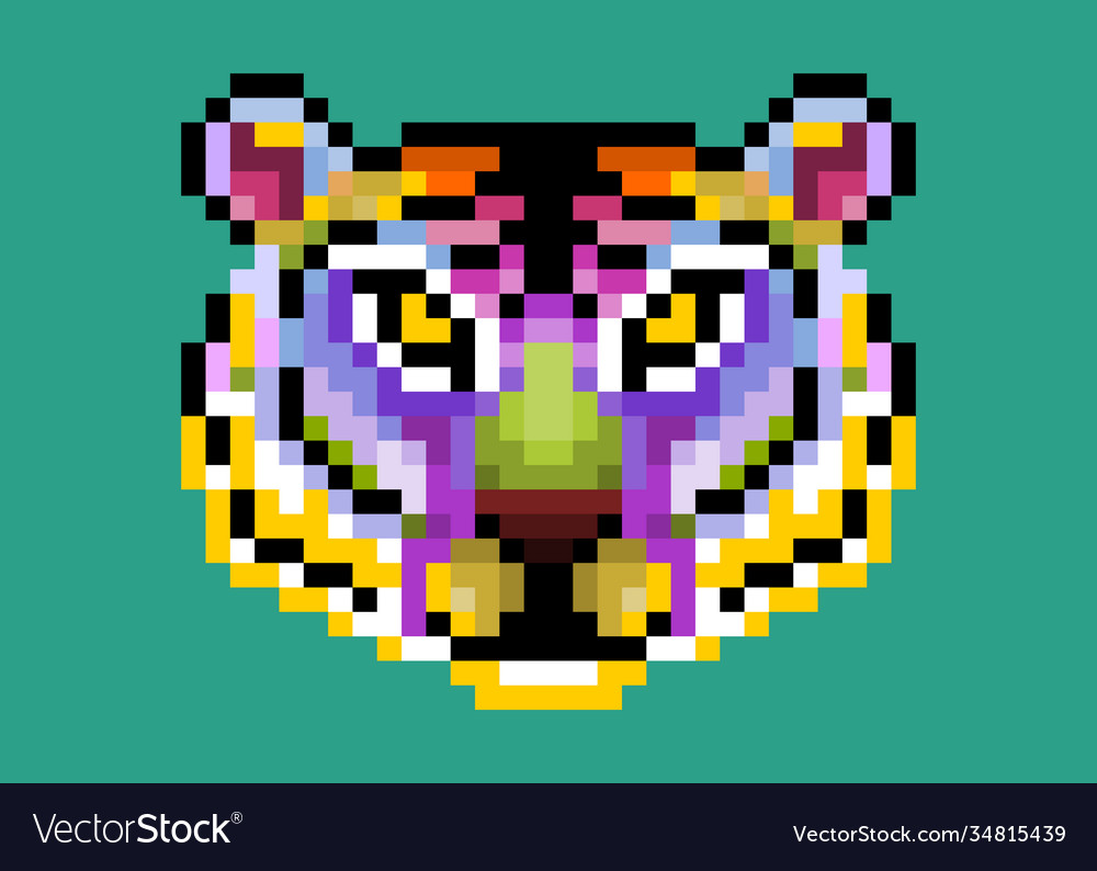 Colorful cute pixel tiger isolated