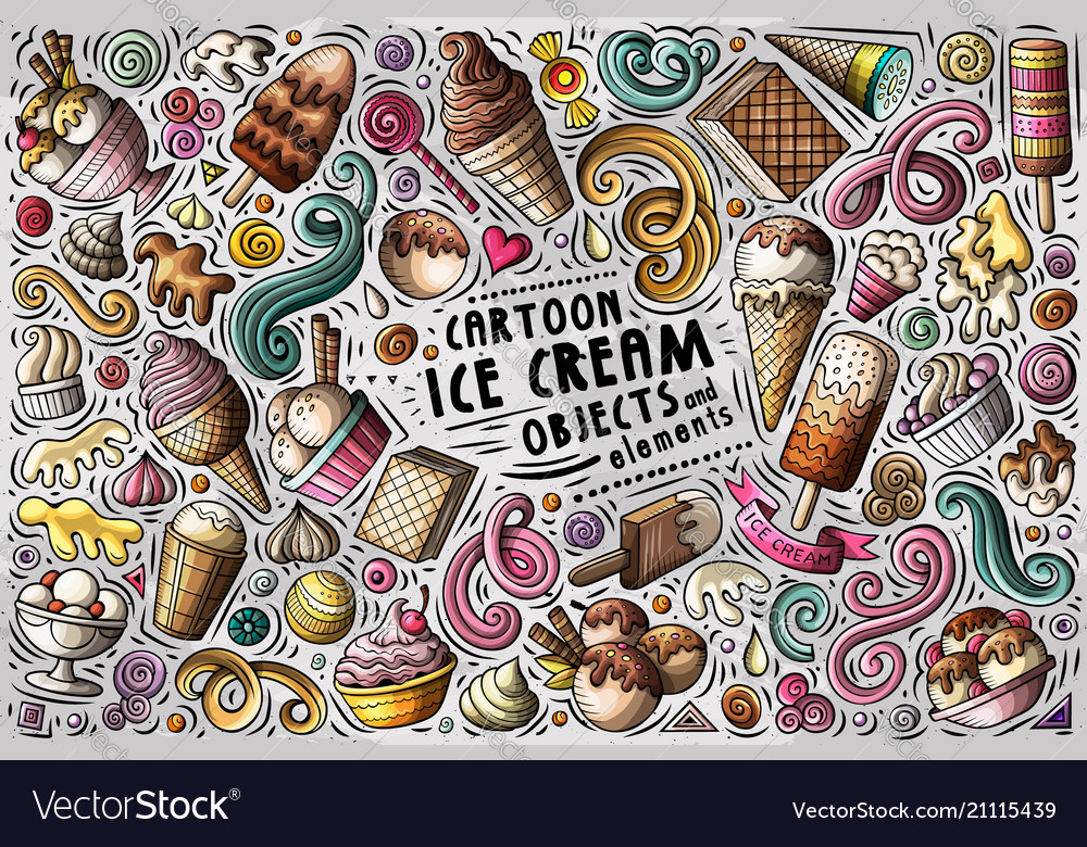 Doodle cartoon set ice cream items