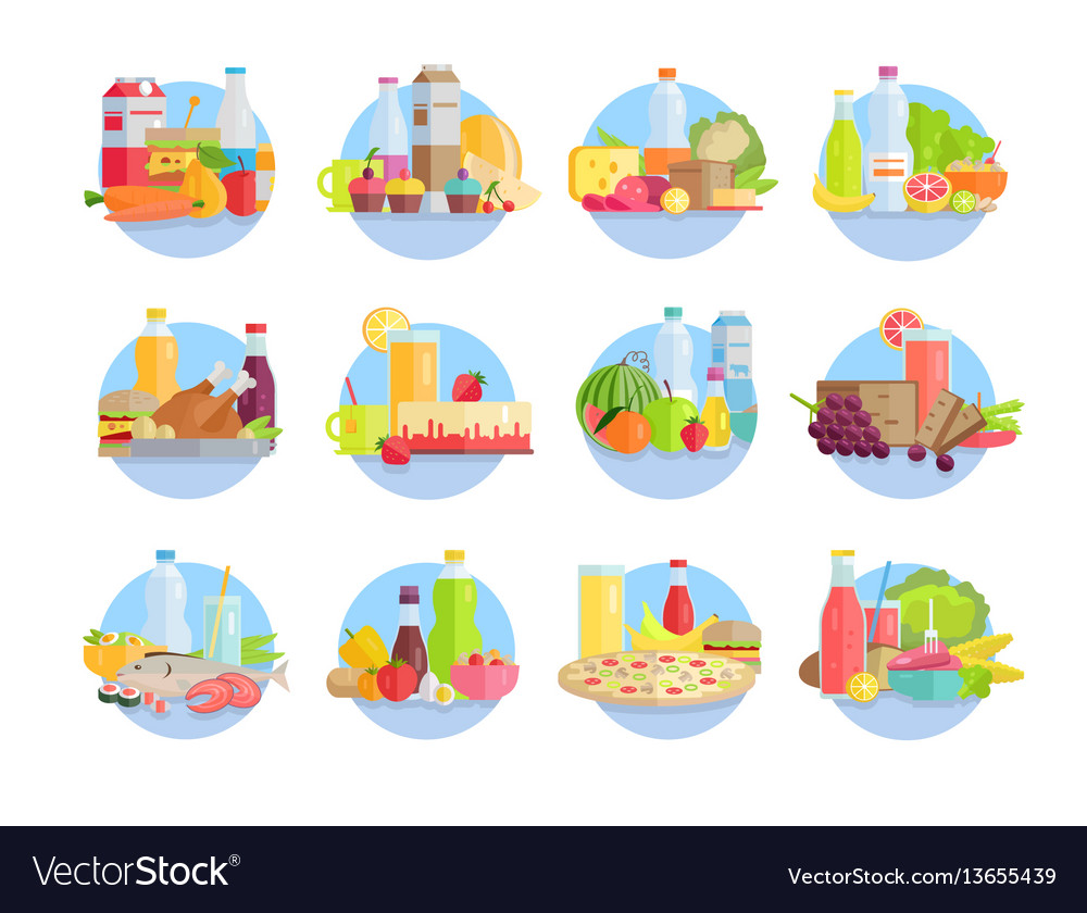 Food and products collections in circles on white vector image