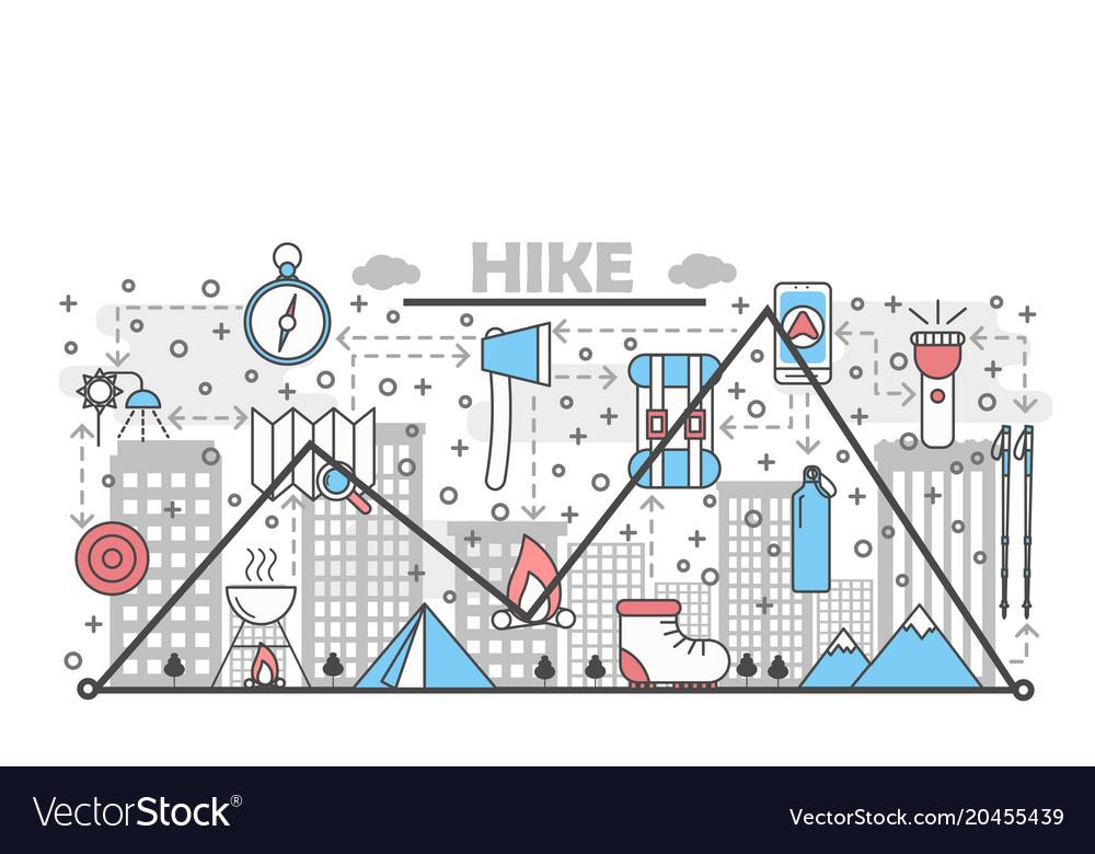 Hiking concept flat line art