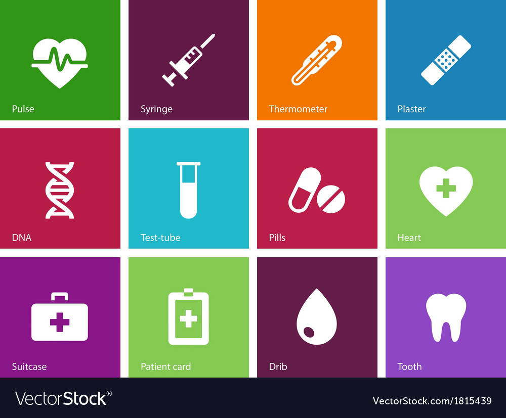 Medical icons on color background