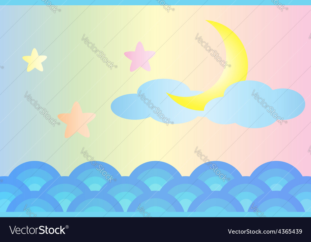 Moon and star over the sea vector image