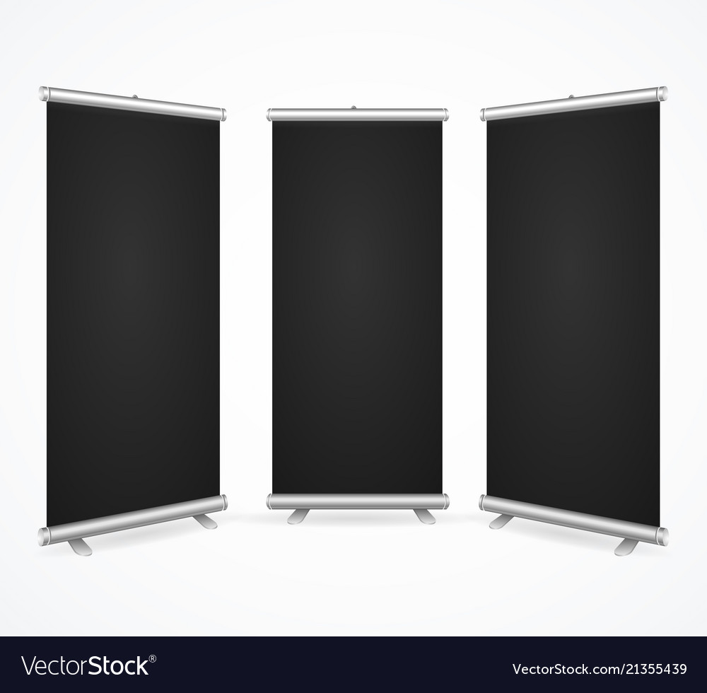 Realistic detailed 3d template blank black scroll