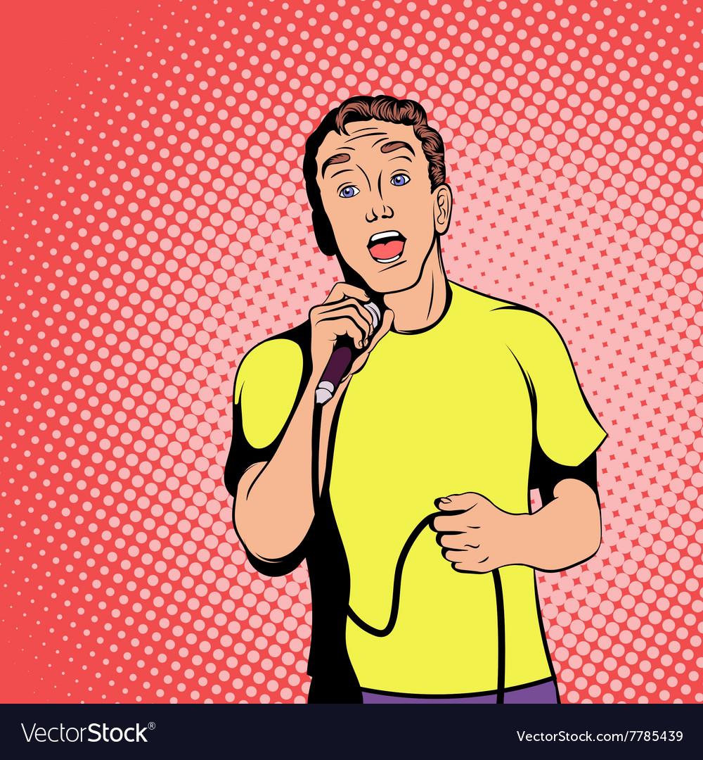 Singer concept comics style vector image
