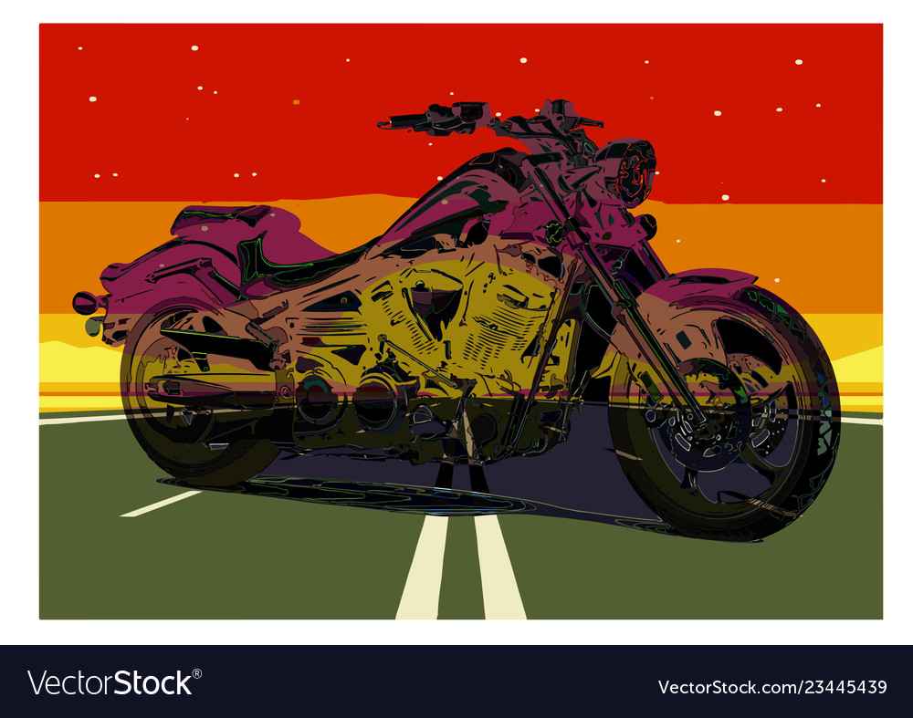 Vintage motorcycle poster motorcycle on the road