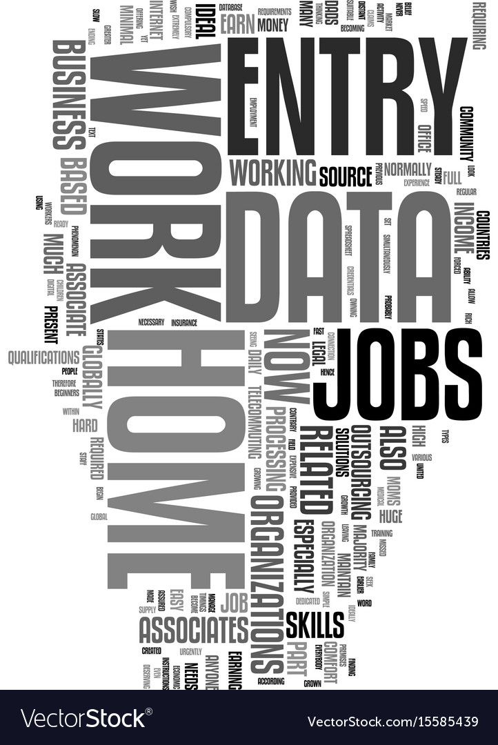 Work from home data entry jobs text word cloud