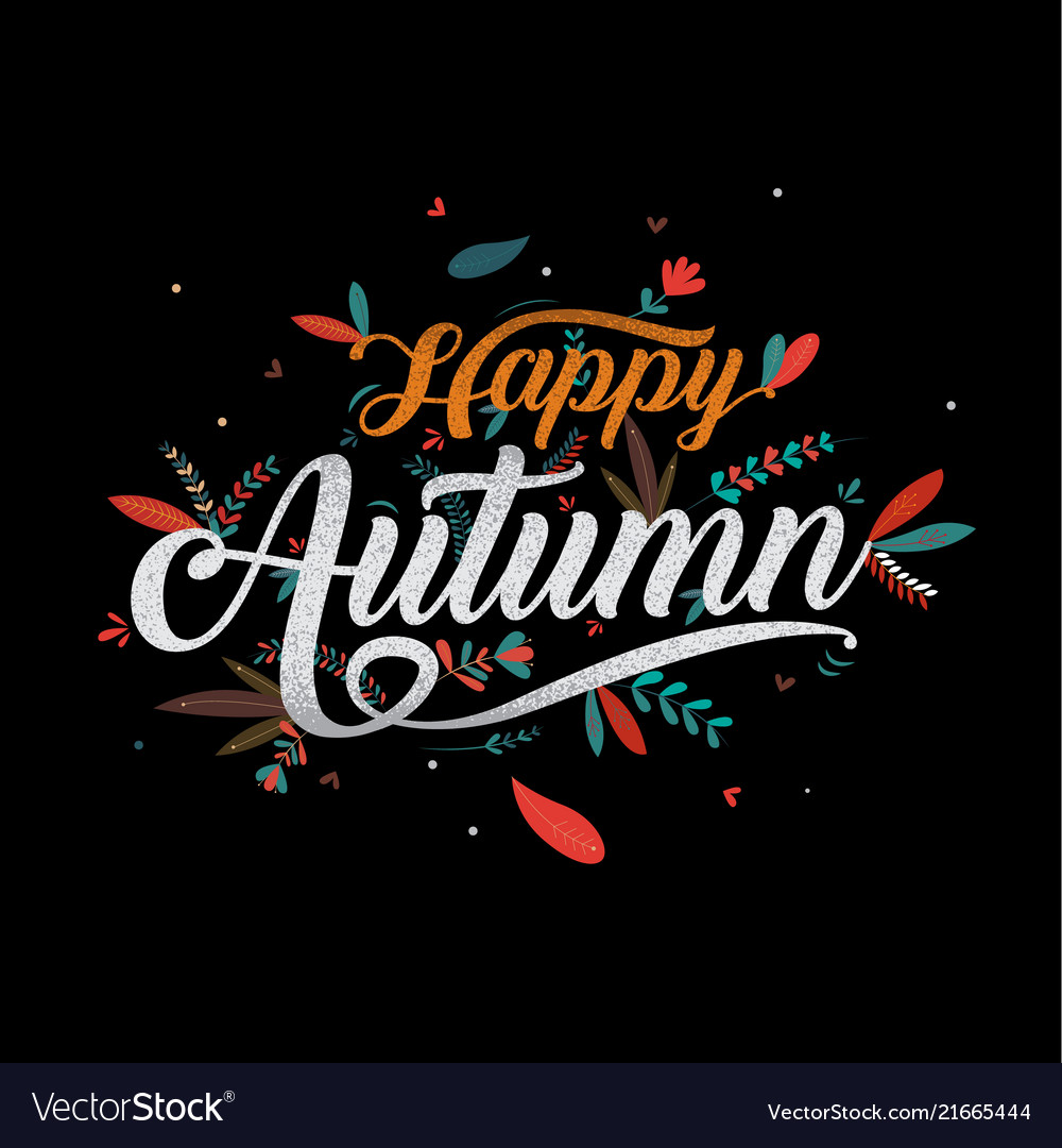 Autumn happy thanksgiving typography icon or