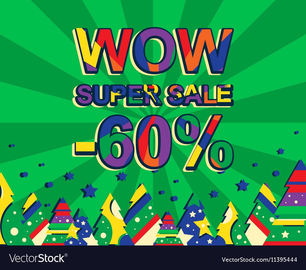 Big winter sale poster with WOW SUPER SALE MINUS