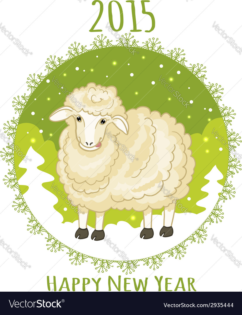 Card with green snowflake and little cute sheep