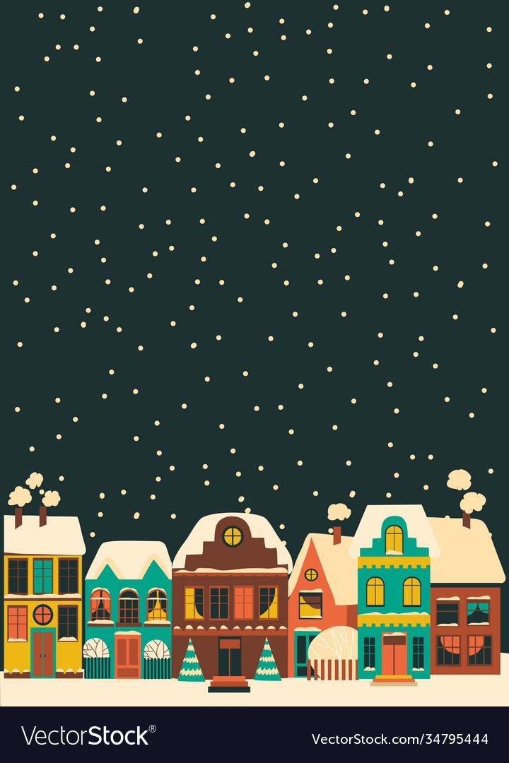 Cute cartoon little town in christmas time