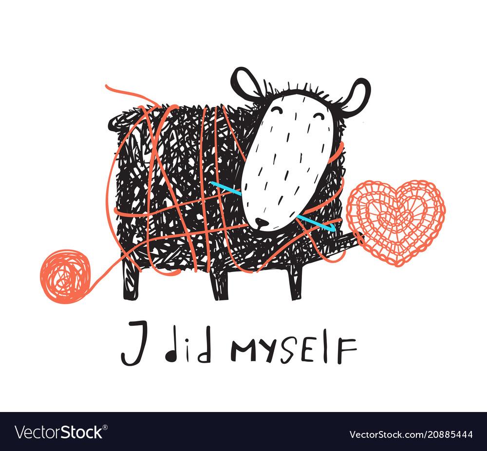 Finny crocheting sheep in messy yarn