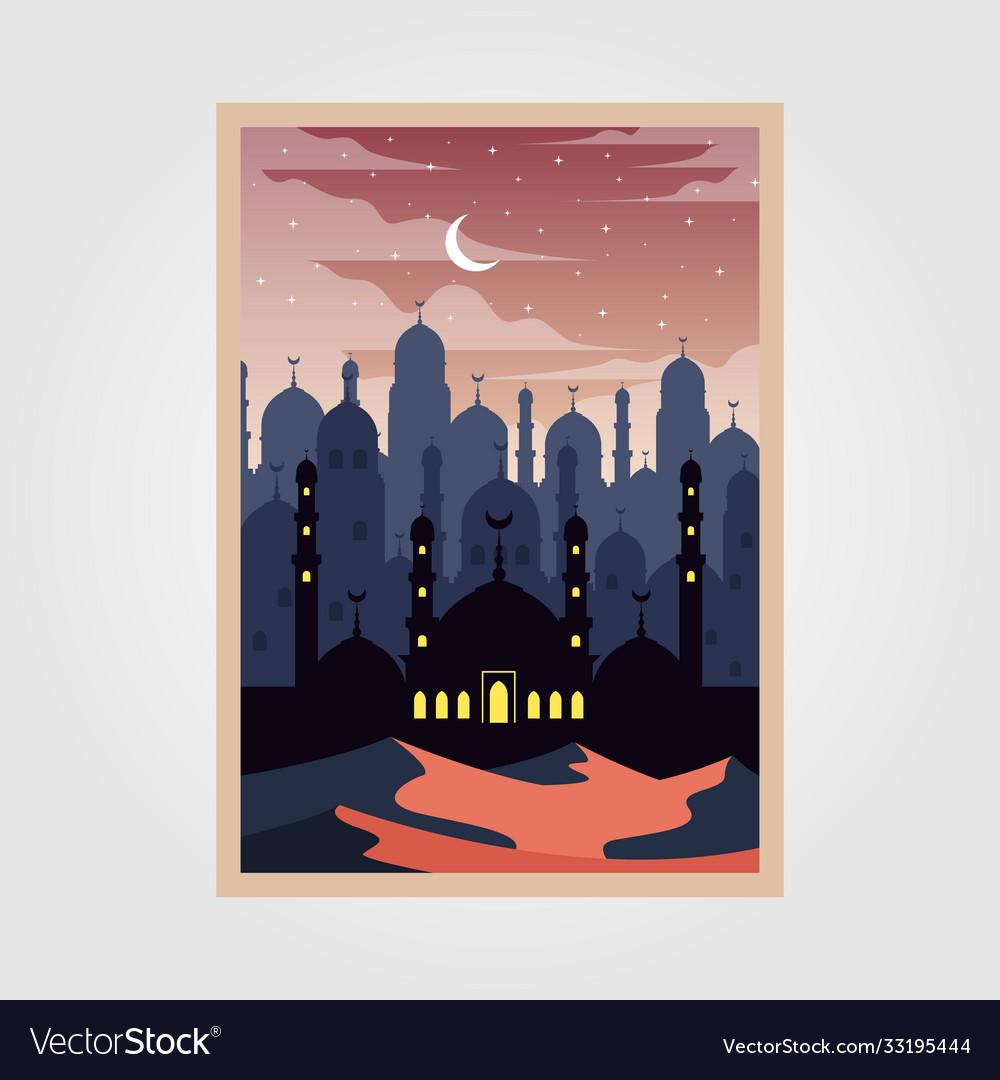 Islamic mosque arabian culture poster design