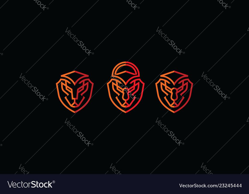 Lion shield security logo icon