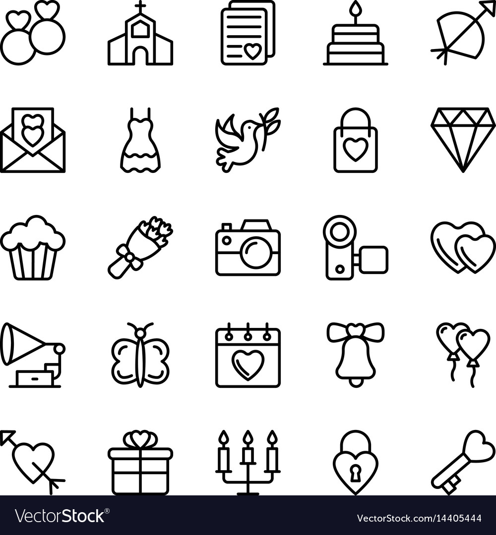 Love and valentine line icons 1
