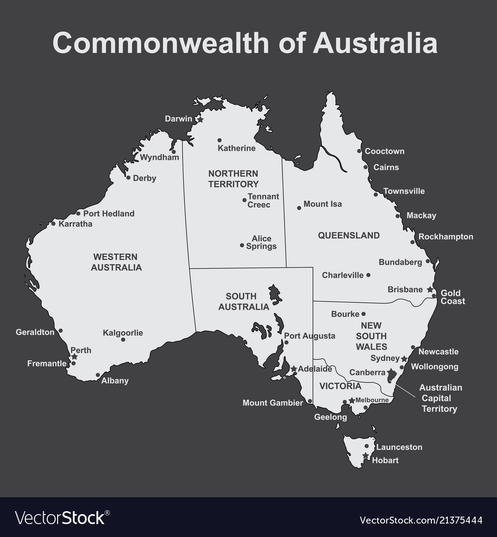 Major Cities In Australia Map.Map Of Australia With Major Towns And Cities