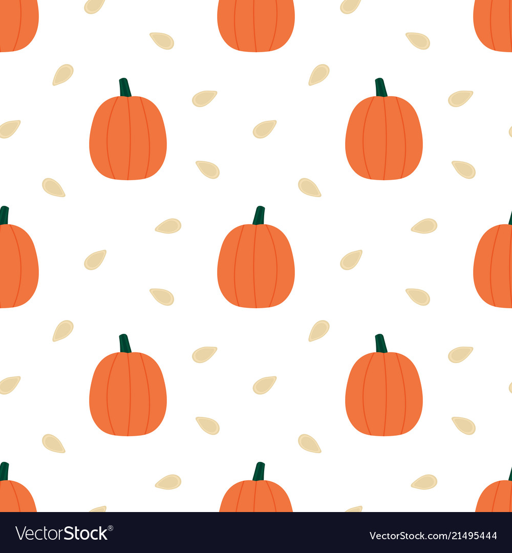 Pumpkins and seeds seamless pattern background
