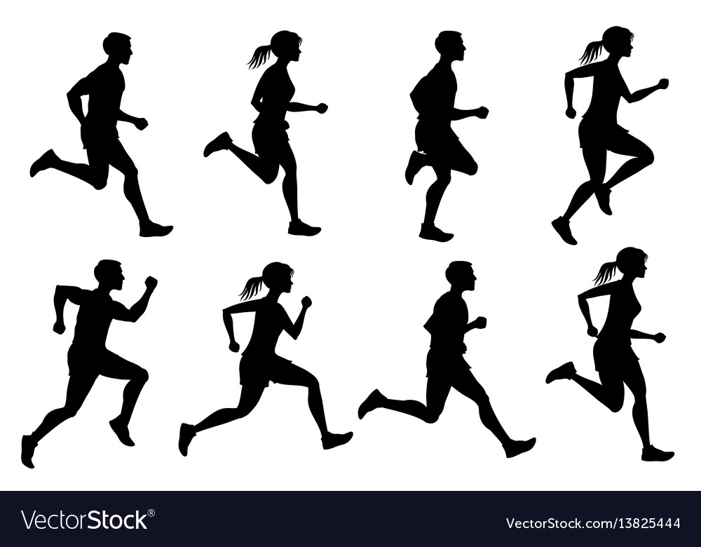 Running male and female jogging people