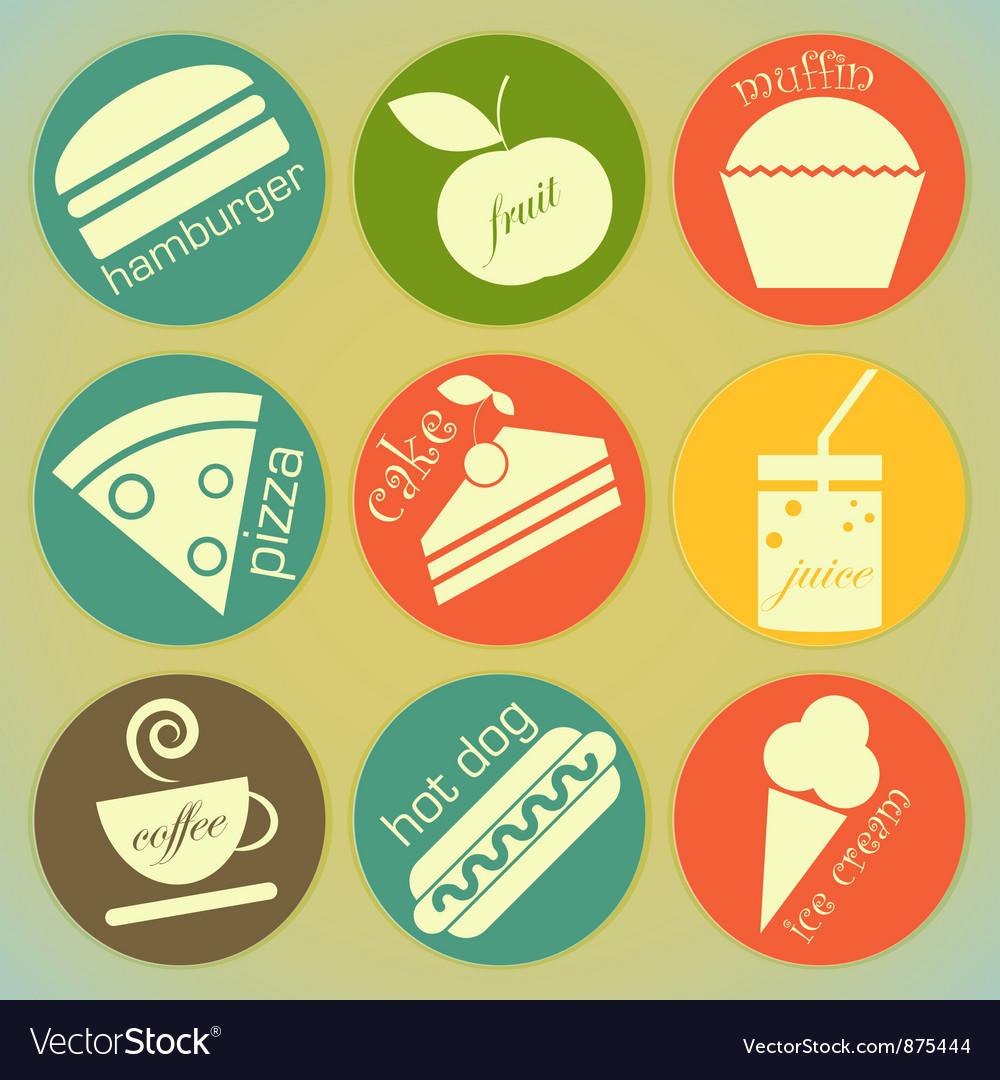 Set of Vintage Food round Labels vector image