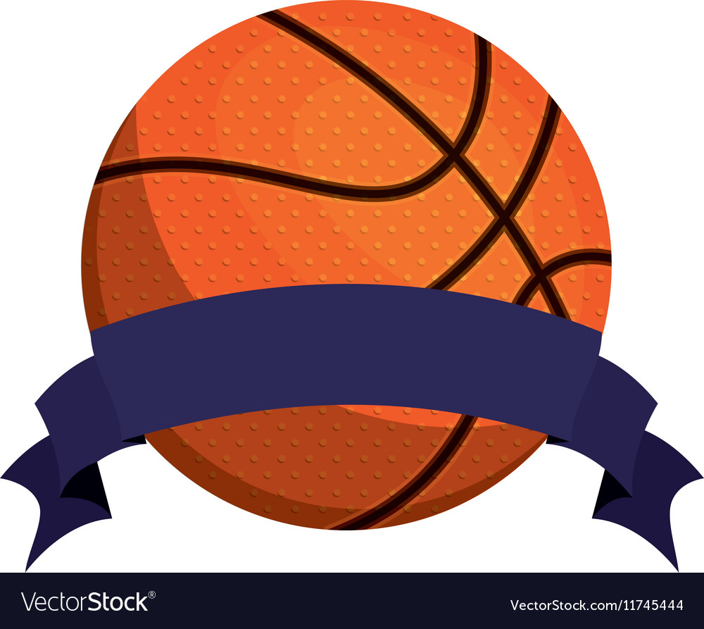 Silhouette color with basketball ball and ribbon vector image