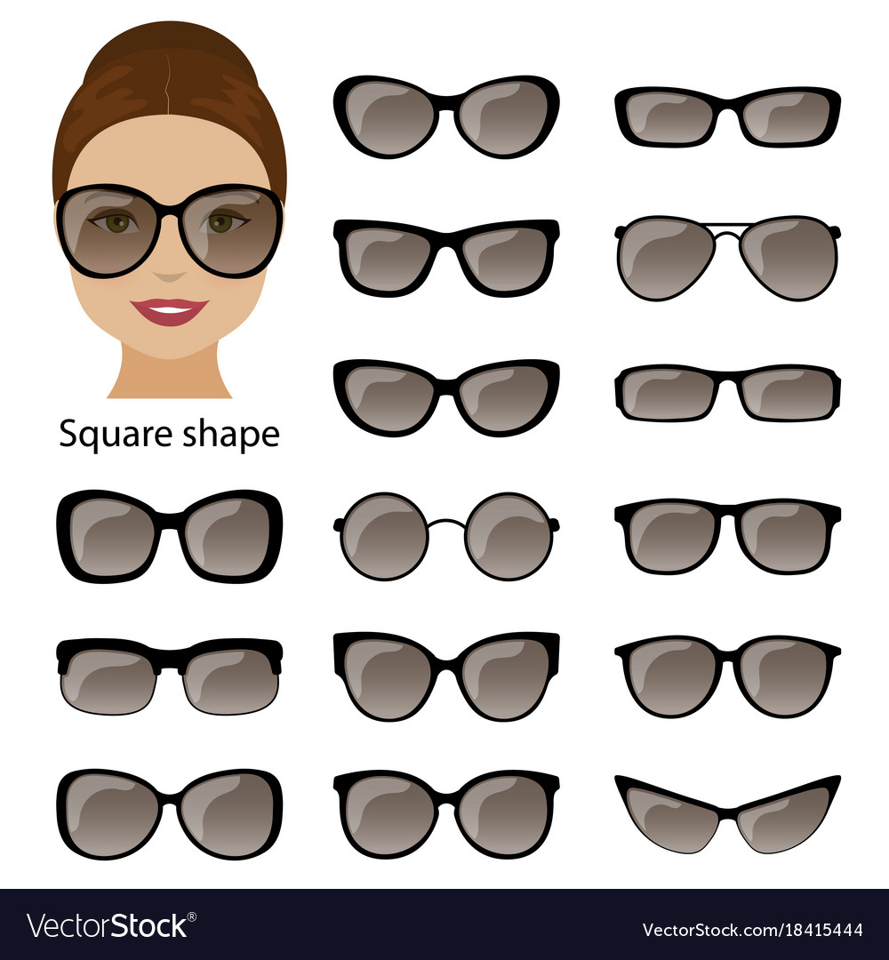 Spectacle frames and square face Royalty Free Vector Image
