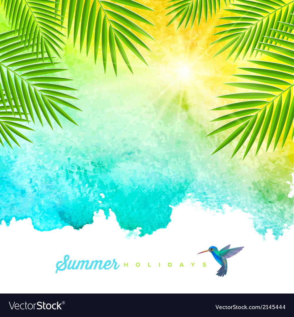Tropical summer watercolor background vector image