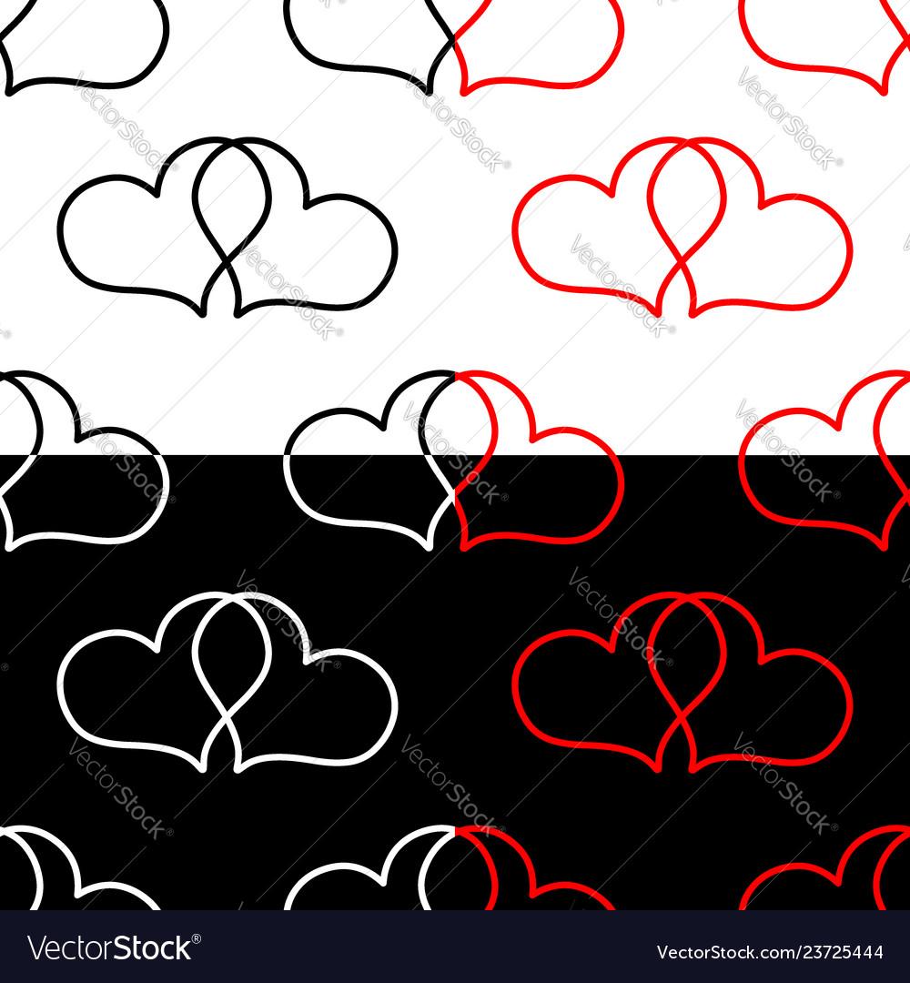 Two hearts seamless pattern