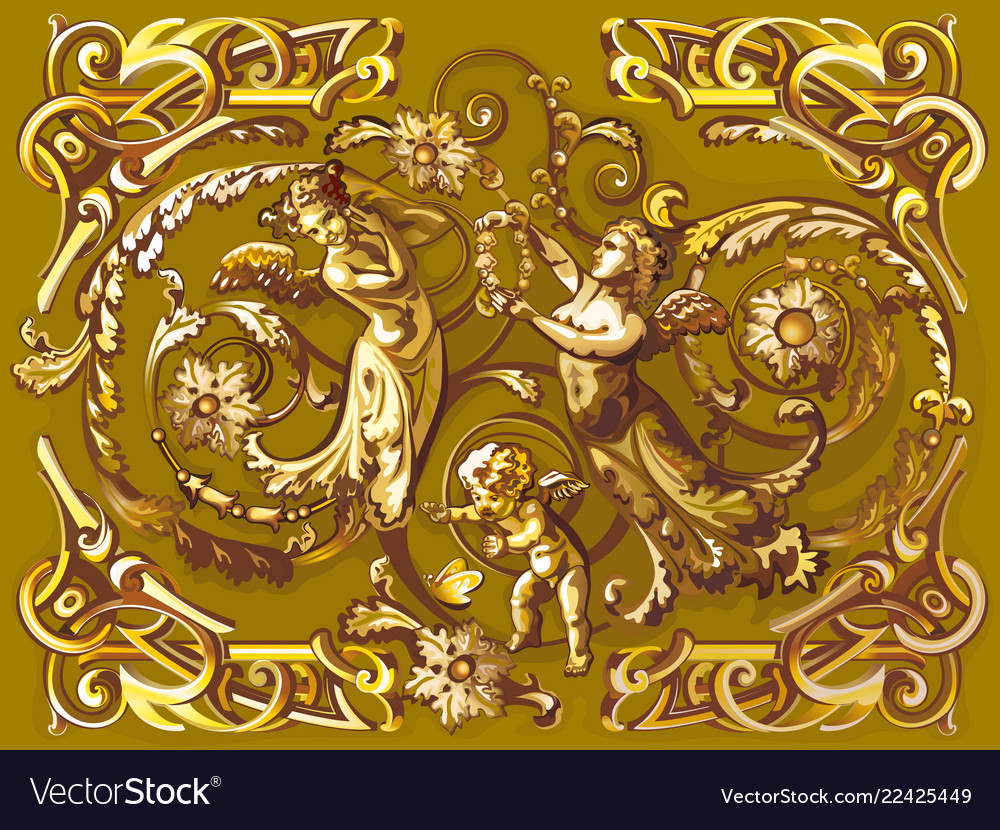 Angels in style of a baroque