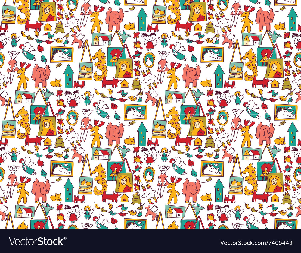 Art hand made objects toys color seamless pattern