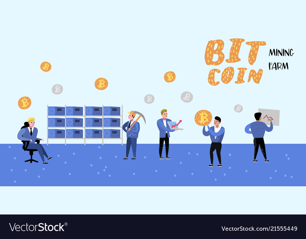 Bitcoin concept with flat cartoon characters