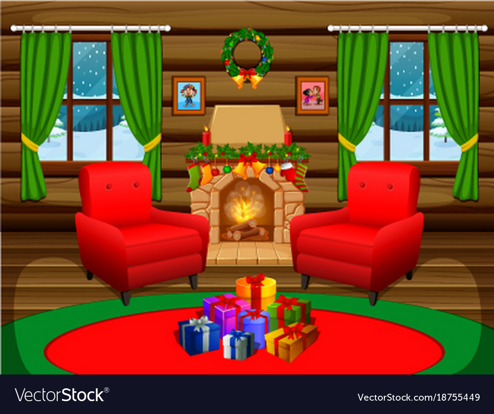 Christmas Living Room With A Tree And Fireplace Vector Image