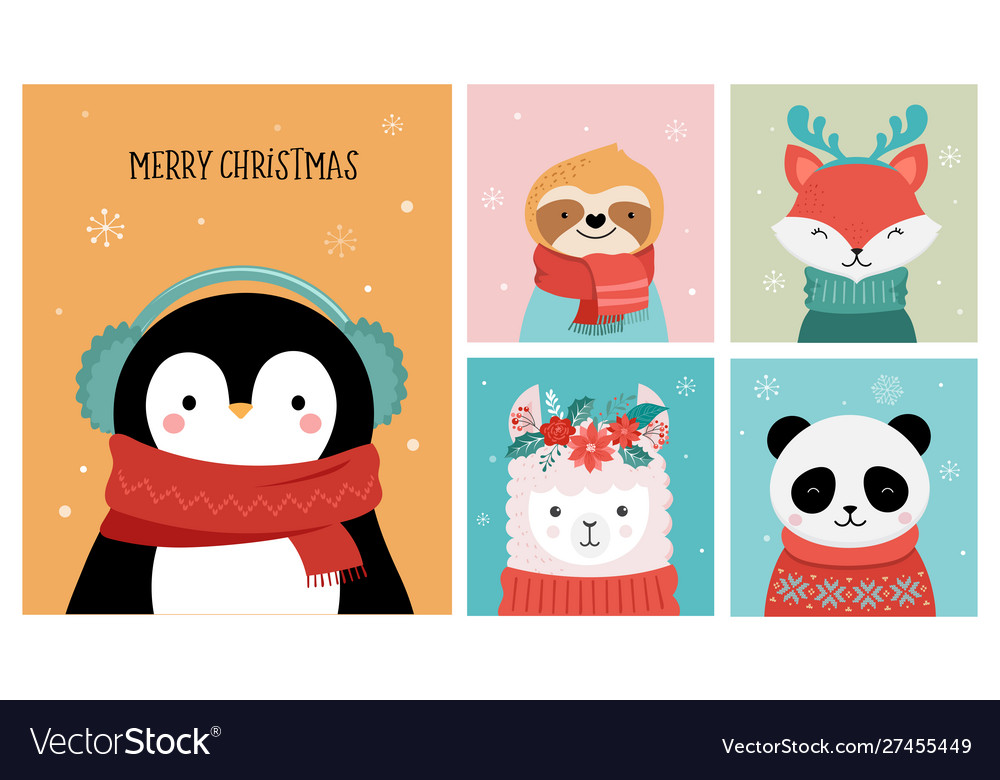 Collection christmas cute animals merry