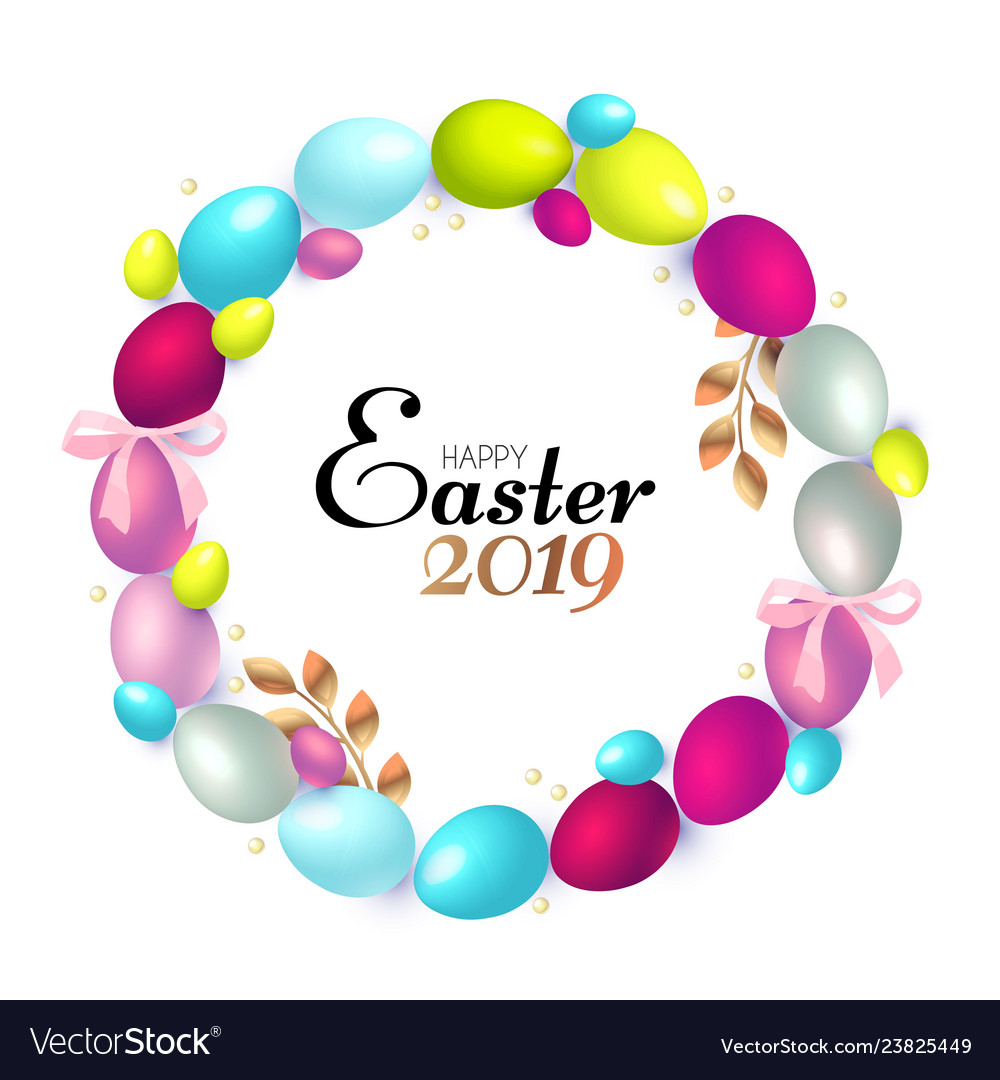 Easter wreath with realistic colorful eggs gold
