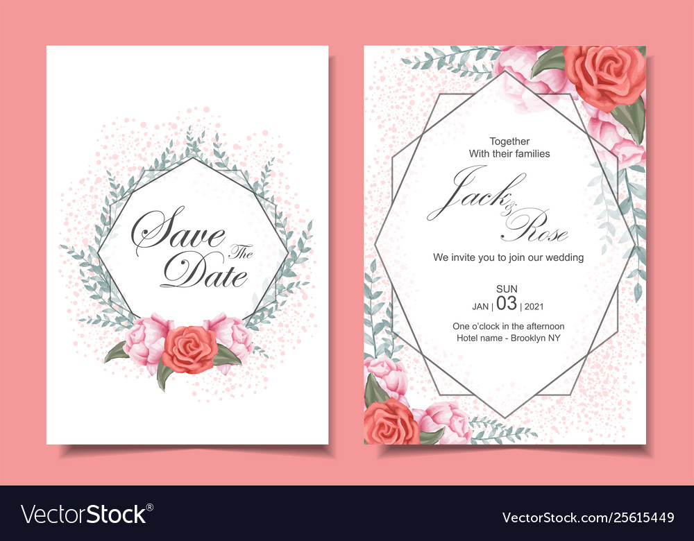 Floral wedding invitation cards set with roses