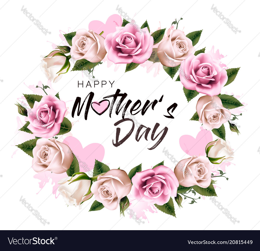 Happy mothers day background with beauty flowers vector image