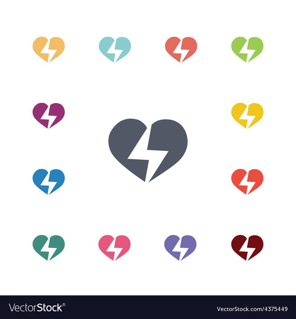Heart lightning flat icons set
