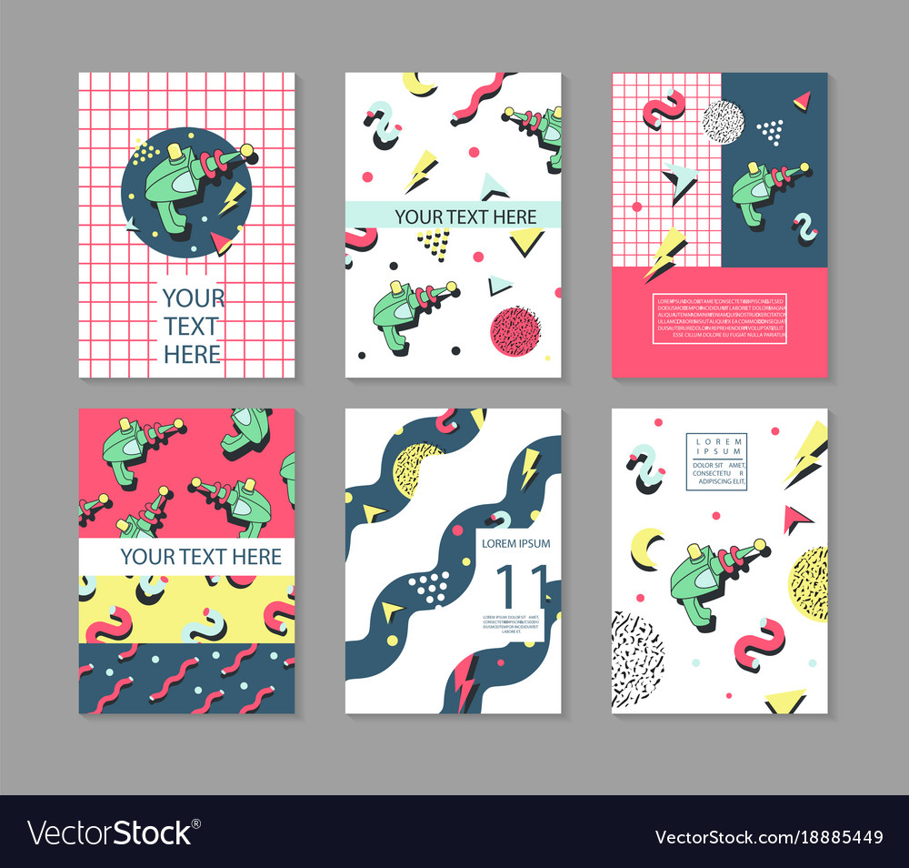 memphis posters set space theme hipster abstract vector image