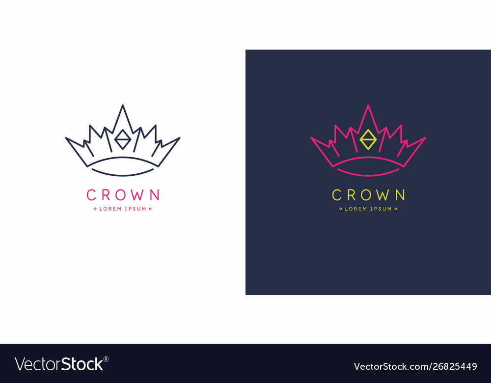 Original linear image crown isolated