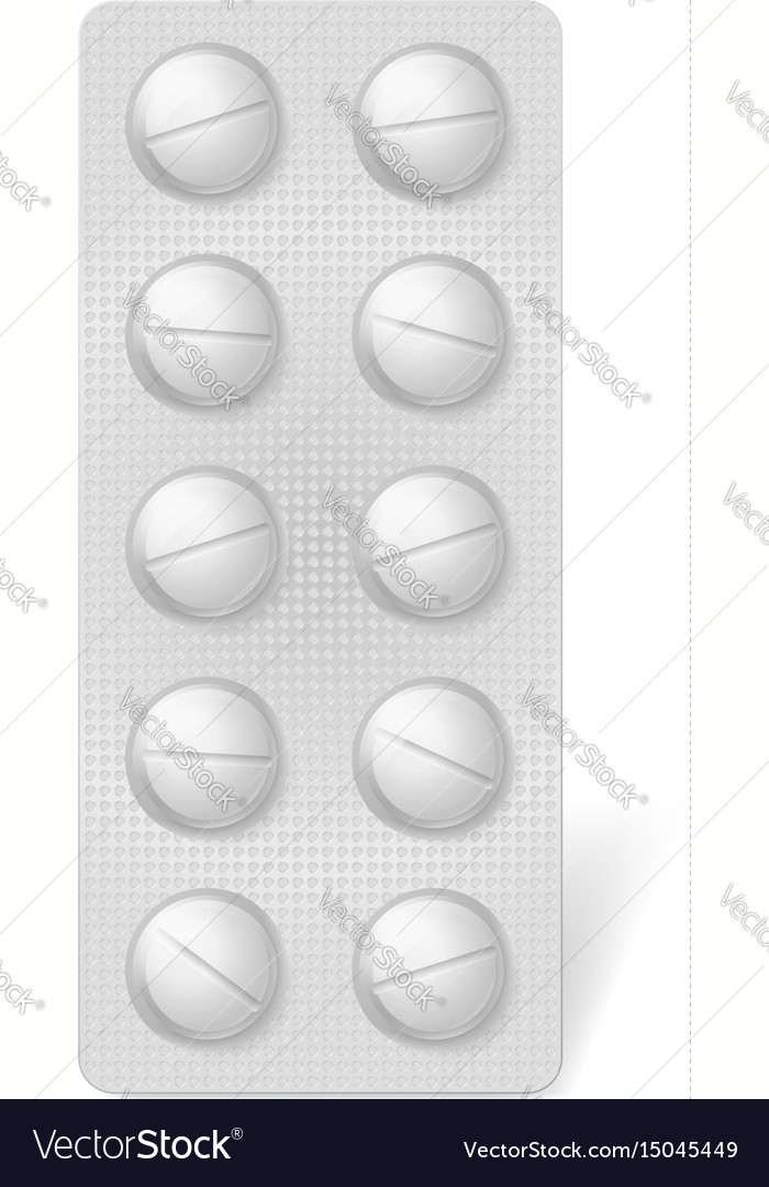 Pills blister pack on white background