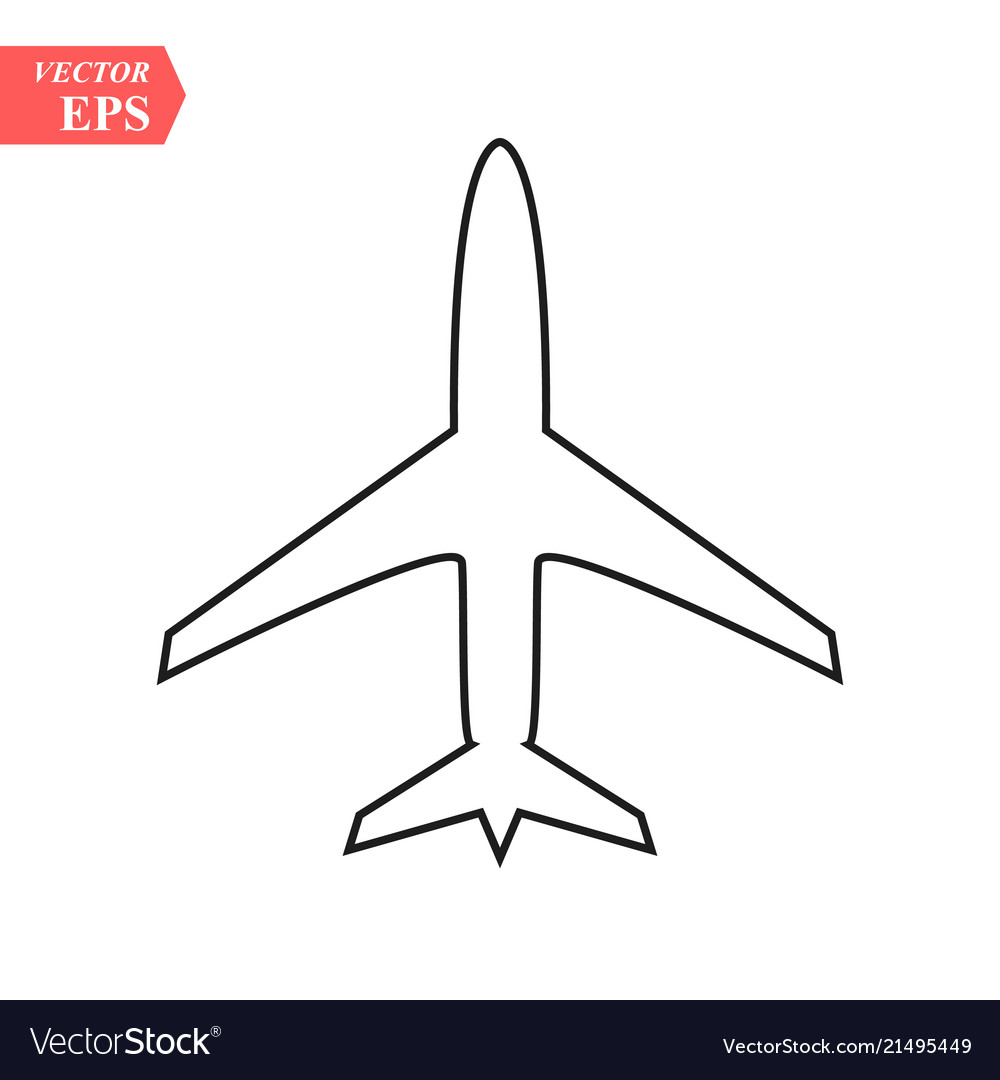 Plane line icon on white background eps10