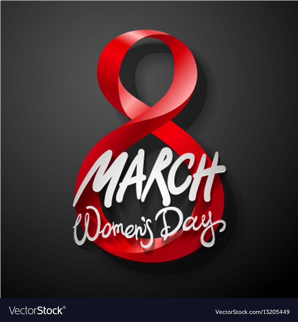 Red march 8 greeting card international womans vector image