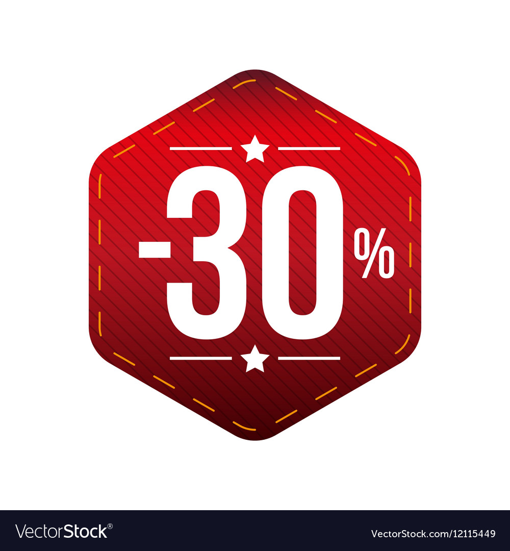 Sale thirty percent off banner red patch vector image