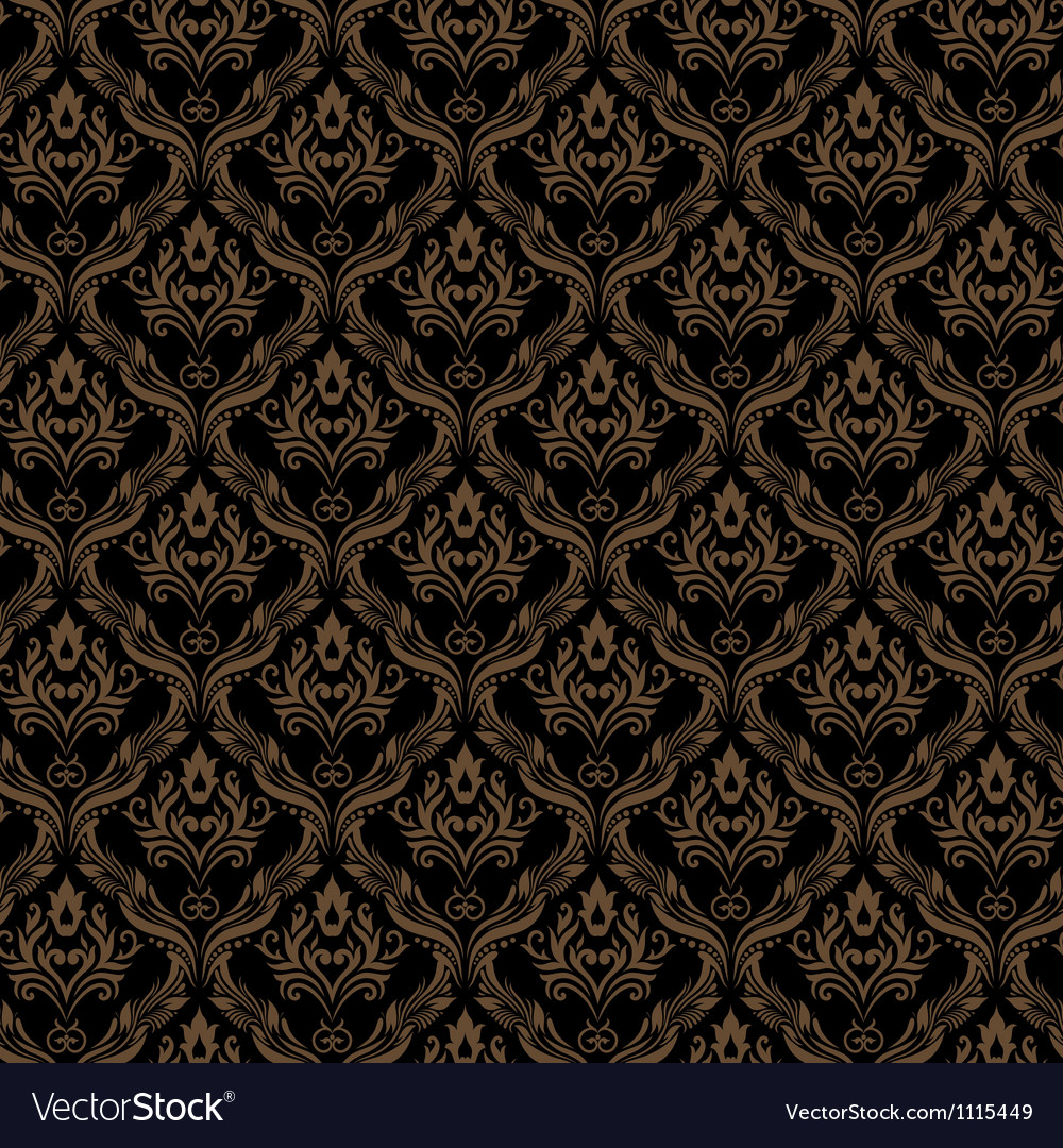 Seamless Damask Wallpaper 3 Black Golden Color