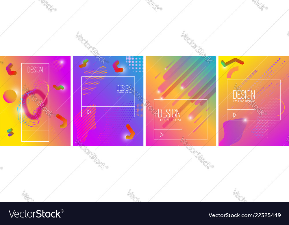 Set banner design templates with abstract vibrant