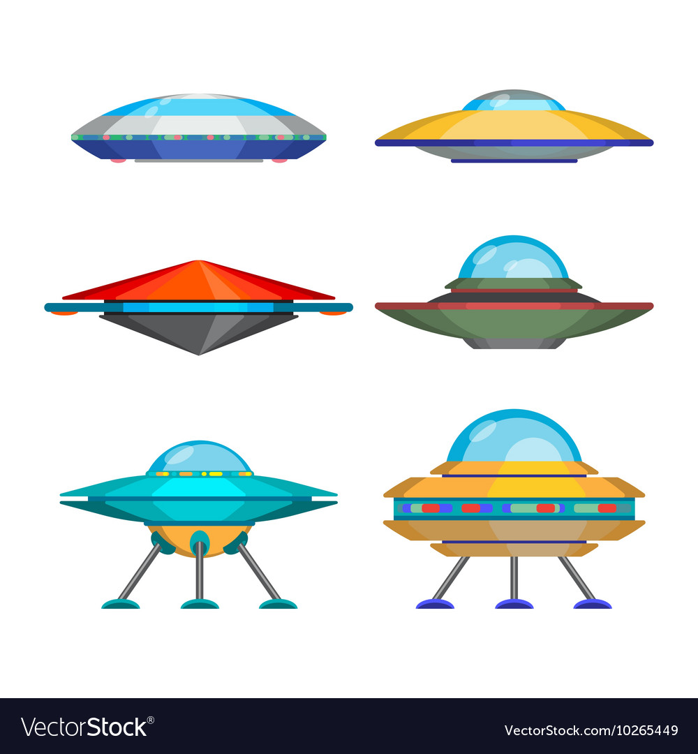 Set of cartoon funny aliens spaceships vector image