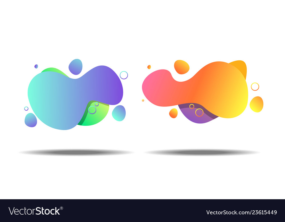 Set of gradient abstract banners with flowing