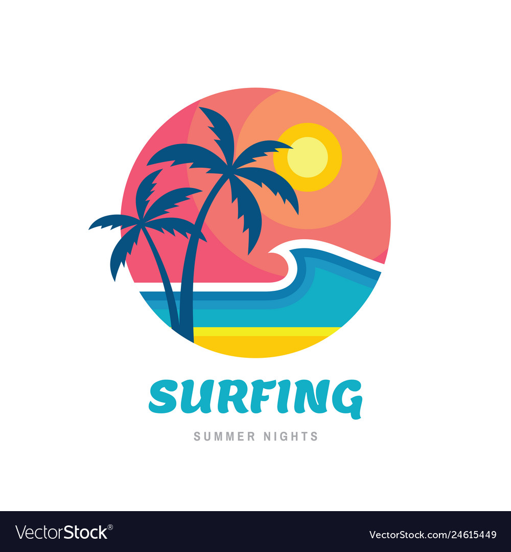 Surfing summer nights - concept business logo