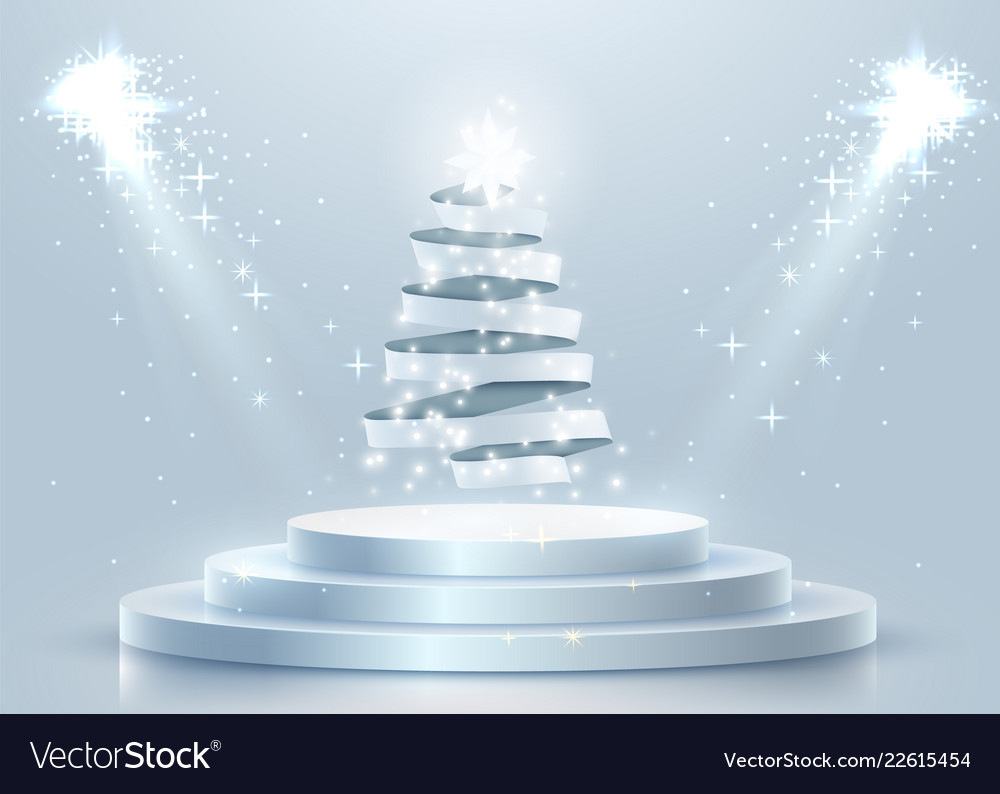 Abstract round podium with christmas tree made of