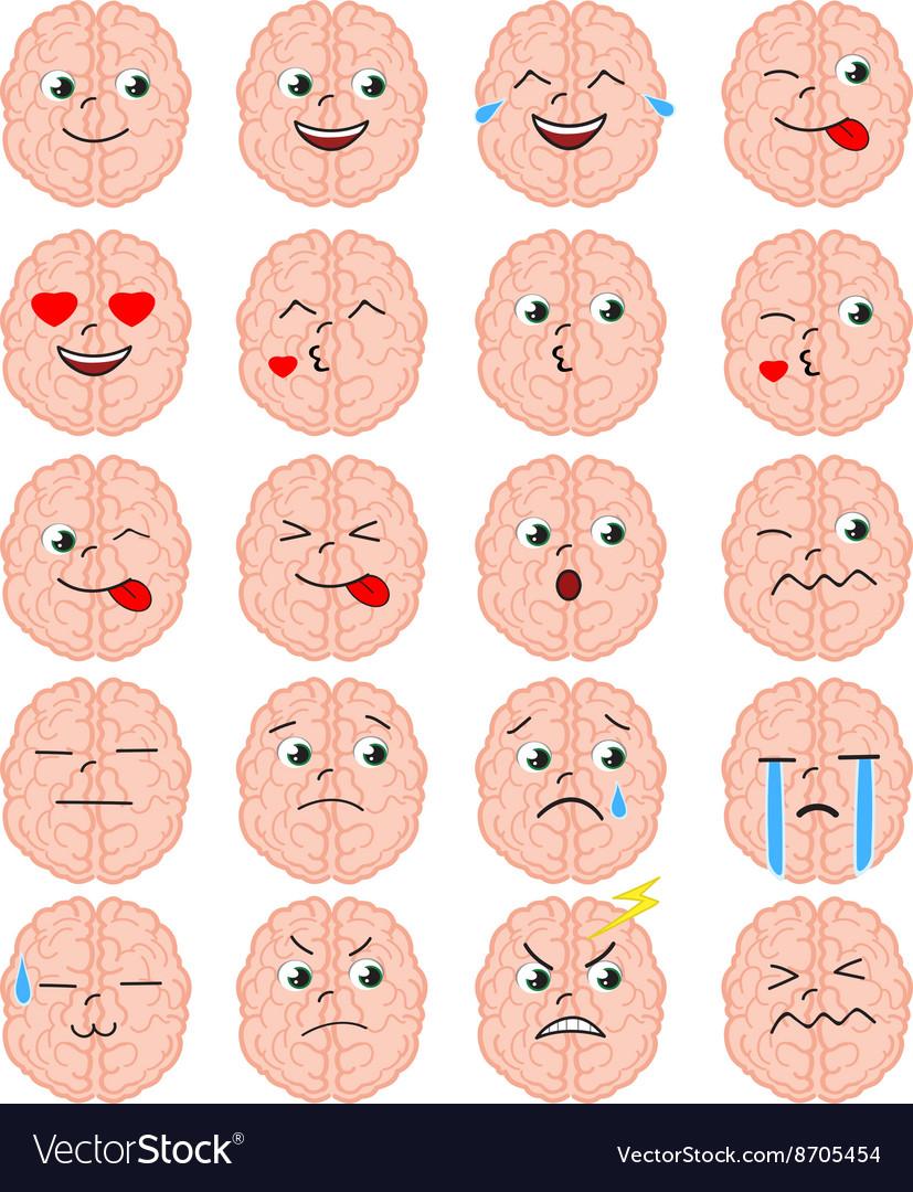 Cartoon brain emoji set