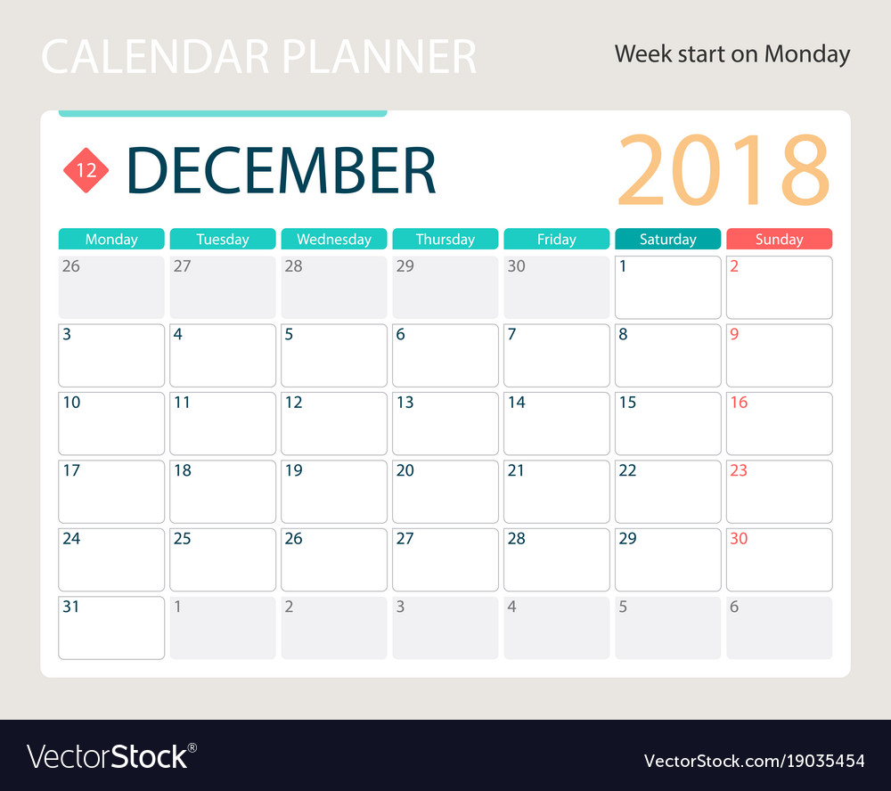 december 2018 calendar or vector image